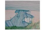 'Blue House' by JBarr 2013/14. Pen on paper.