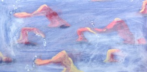 Open swimmers by JBarr. Acrylic and ink on paper. 2010.Private collection.