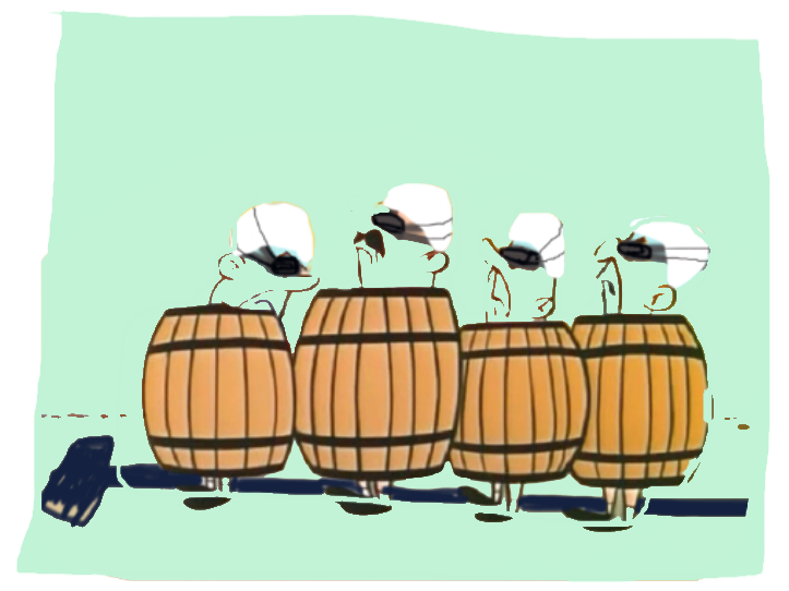Some images never leave you. When i think barrels and stroke/catch i think of these dudes from Gun Gone Goons Barrel - a Hannah Barbera cartoon from my youth. I've just made them more pool ready here...